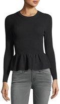 BA&SH Kenn Crewneck Ribbed Peplum Sweater