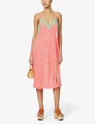 Pitusa Graphic-print crochet-trim cotton-blend midi slip dress