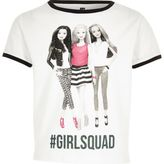 River Island Girls white Barbie squad T-shirt