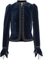 Sonia Rykiel Grosgrain-trimmed Ruffled Cotton-velvet Jacket - Blue