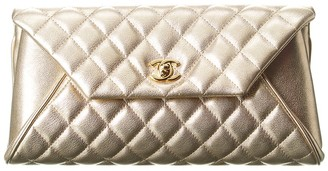 Chanel Gold Quilted Calfskin Leather Single Flap Clutch