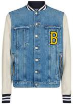 Balmain Leather Denim Varsity Jacket