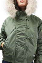 Topshop MA1 Bomber Jacket with Faux Fur Hood