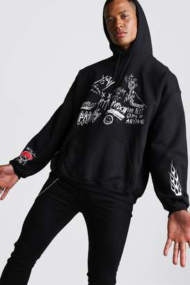 boohoo Oversized Graffiti Front And Sleeve Print Hoodie