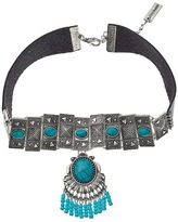 Steve Madden Triangle Stud Embedded Turquoise Stone w/ Beaded Fringe Choker Necklace