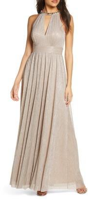 Eliza J Embelished Halter Metallic Knit Gown