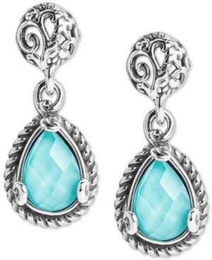Carolyn Pollack Turquoise/Rock Crystal Doublet Teardrop Filigree Drop Earrings