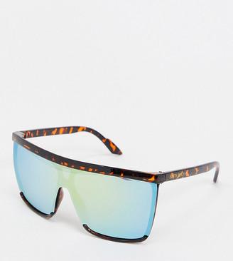 South Beach visor sunglasses with blue lens in tortoiseshell
