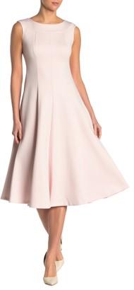 Calvin Klein Boatneck Seamed Fit & Flare Dress
