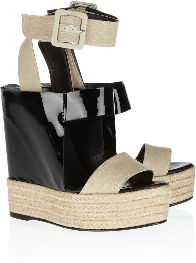 Pierre Hardy Patent-leather and linen wedge sandals