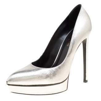 Saint Laurent Janis Silver Leather Heels