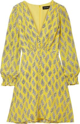 Saloni Eve Printed Silk Crepe De Chine Mini Dress