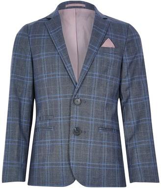 River Island Boys Check Blazer Jacket - Blue