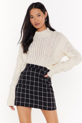 Nasty Gal Womens Line By Me Check Mini Skirt - Black
