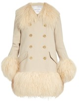 Sonia Rykiel Wool-crepe and lamb-fur coat