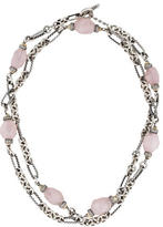 David Yurman Rose Quartz & Diamond Figaro Chain Necklace