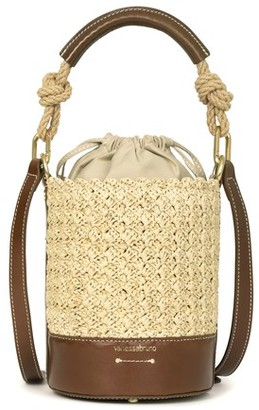 Vanessa Bruno Mini raffia and leather Holly bag