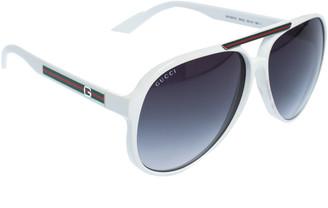 Gucci White/Dark Green Gradient VK6JJ Web Sunglasses