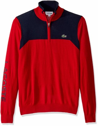 Lacoste Mens Sport Long Sleeve Color Block 1/4 Zip Sweater Sweater
