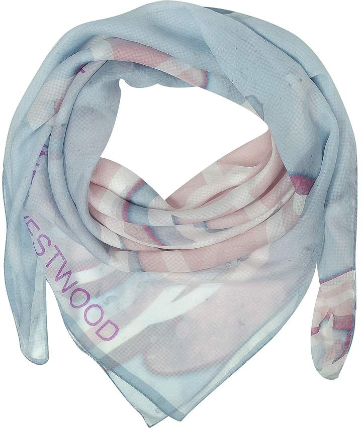 Vivienne Westwood Light Blue & Pink Foul Flash Orbs Print Silk Wrap