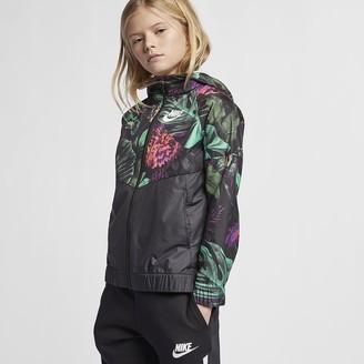 """Nike Big Kids' (Girls') Floral Windbreaker Sportswear Windrunner """"Floral"""""""