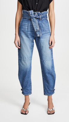 Veronica Beard Jeans Addie Paperbag High Rise Tapered Jeans