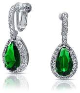 Bling Jewelry Simulated Emerald Cz Pear Clip On Earrings Rhodium Plated.