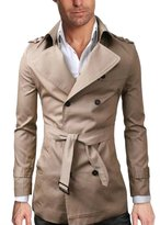 WSLCN Mens Classic Trench Coat Lapel Double Breasted Windbreaker With Belt