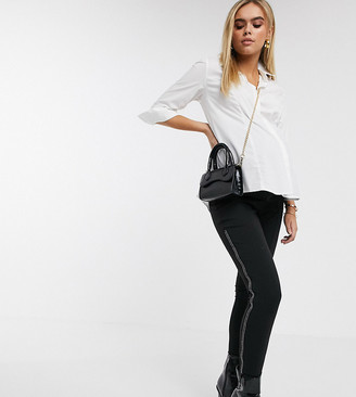 Asos DESIGN Maternity under the bump ponte skinny pant with diamante zips