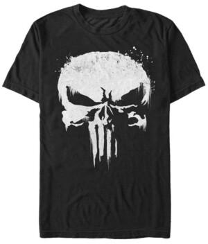 Marvel Men's Punisher White Paint Splattered Skull Short Sleeve T-Shirt
