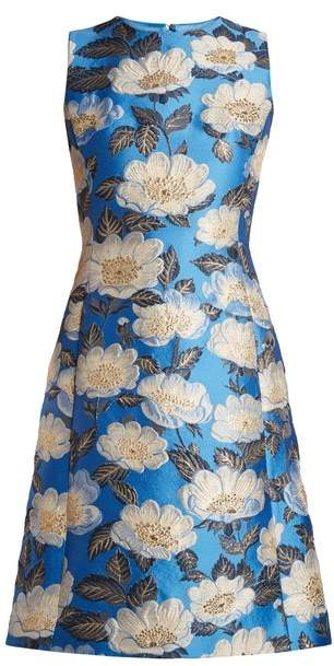 Dolce & Gabbana Floral Jacquard Sleeveless Dress - Womens - Blue Multi