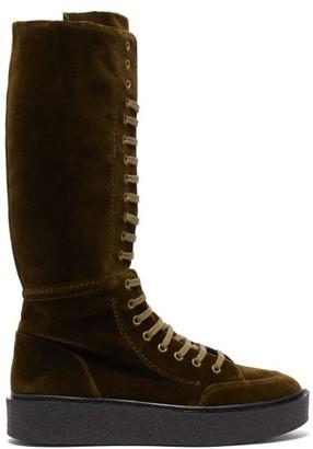 Colville - Velvet Lace-up Boots - Khaki