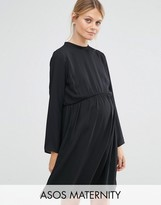Asos High Neck A-Line Dress With Open Back