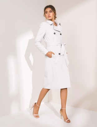 Forever New Tessa Mini Check Trench Coat - GREY / WHITE CHECK - 14