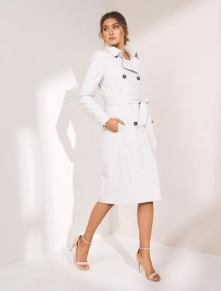 Forever New Tessa Mini Check Trench Coat - GREY / WHITE CHECK - 8