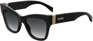 Moschino Cat Eye Acetate Sunglasses w/ Chain Temples
