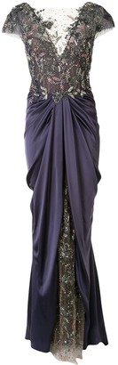 Marchesa Embellished Satin Draped Evening Gown