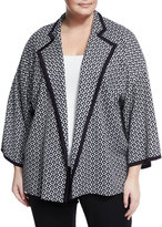 Misook Geometric-Print Knit Jacket, Blue/White, Plus Size