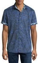 Robert Graham Colonel Geo-Pattern Short-Sleeve Sport Shirt, Blue