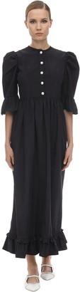 Batsheva Button Down Ruffled Moiree Midi Dress