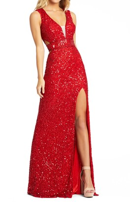 Mac Duggal Side Cutout Sequin Gown