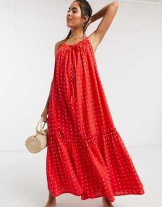 Accessorize high neck beach maxi dress in red