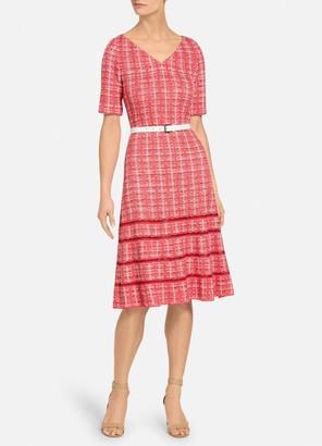 St. John Bold Vertical Tweed Dress