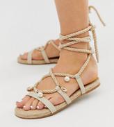 Asos Design DESIGN Wide Fit Vancouver embellished tie leg espadrille sandals