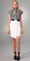Denim Oxford Shirt Dress with Rib Combo