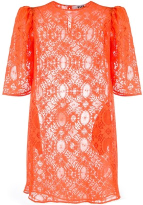 MSGM Puff-Sleeved Floral Lace Shift Dress