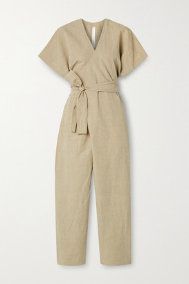 LAUREN MANOOGIAN Organic Cotton And Linen-blend Wrap Jumpsuit - Mushroom