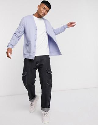 ASOS DESIGN jersey cardigan in lilac
