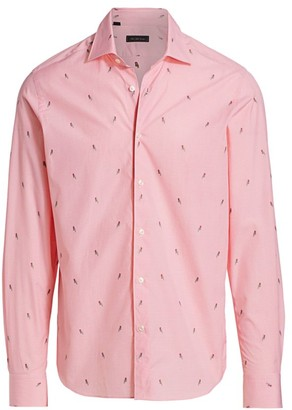 Saks Fifth Avenue COLLECTION Gingham & Parrot Print Sport Shirt