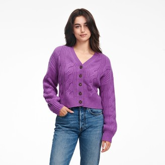 Naadam Cropped Cable Knit Cardigan